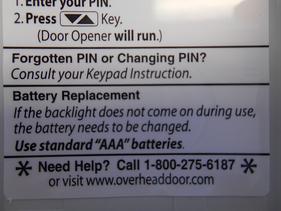 Overhead Door Key Pad Programming Instructions