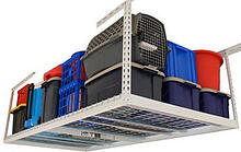 overhead storage rack with containers