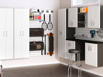 Sleek, streamlined garage cabinet storage solutions expand your home's storage space.